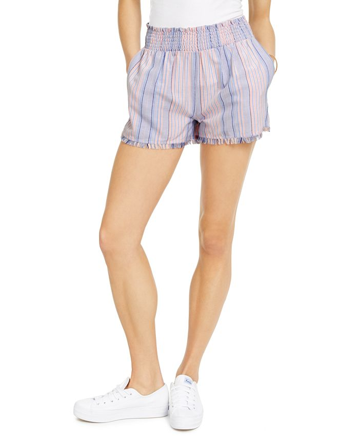 Derek Heart - Juniors' Striped Smocked-Waist Shorts