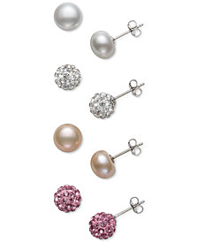 4-Pc. Set Cultured Freshwater Pearl (8mm) & Crystal Stud Earrings in Sterling Silver
