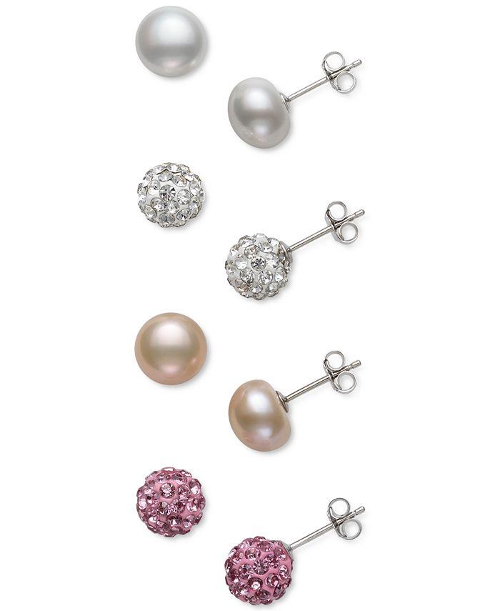 Macy's - 4-Pc. Set Cultured Freshwater Pearl (8mm) & Crystal Stud Earrings in Sterling Silver