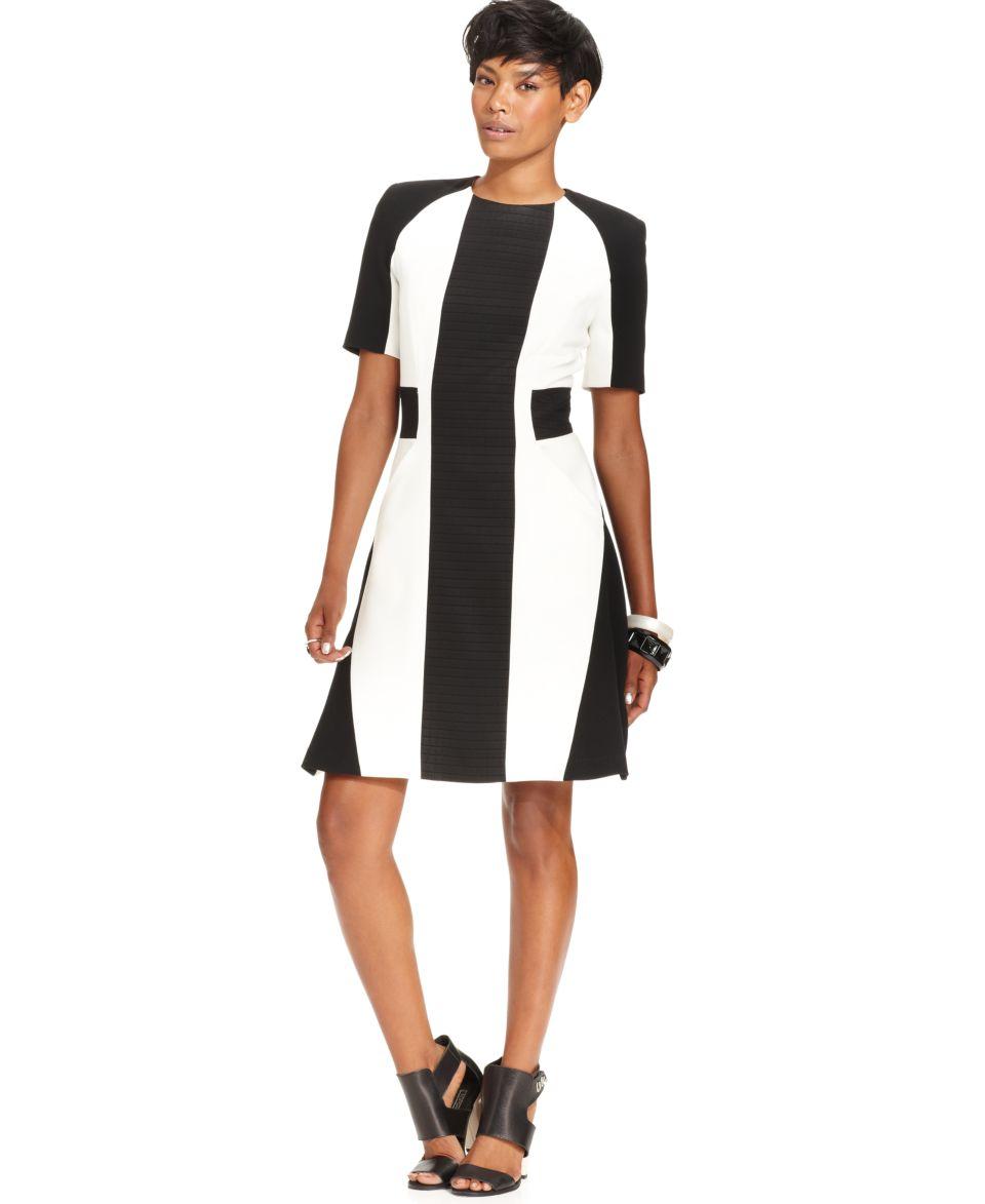 W118 by Walter Baker Dress, Short Sleeve High Neck Striped   Dresses   Women