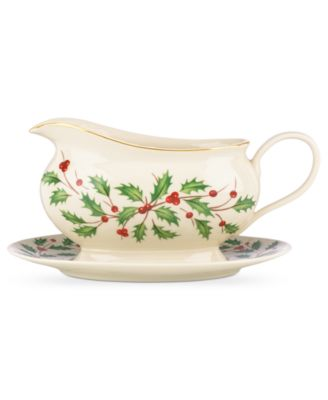 Lenox Holiday Gravy Boat With Stand