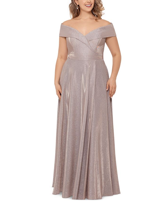 XSCAPE - Plus Size Off-the-Shoulder Glitter Gown