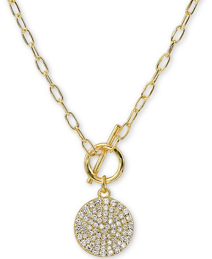 """Argento Vivo - Cubic Zirconia Pavé Disc 16"""" Pendant Necklace in 18k Gold-Plated Silver"""