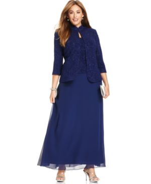 Alex Evenings Plus Size Glitter Gown and Jacket