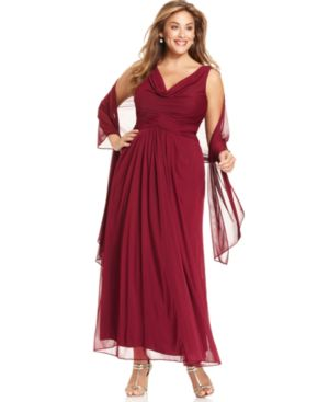 Alex Evenings Plus Size Sleeveless Pleated Gown and Shawl