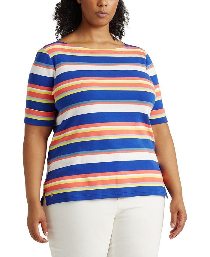 Lauren Ralph Lauren - Plus Size Striped Cotton-Blend Top