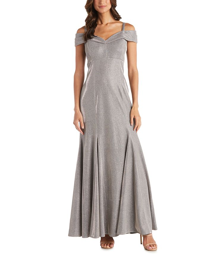 R & M Richards - Cold-Shoulder Metallic Mermaid Gown