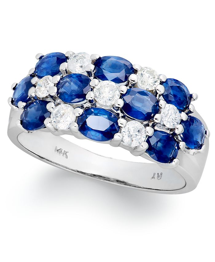 Macy's - 14k White Gold Ring, Sapphire (2-1/2 ct. t.w.) and Diamond (1/2 ct. t.w.) Three-Row Ring