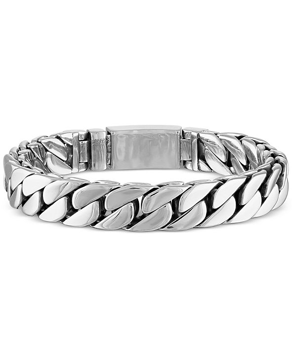 Esquire Men's Jewelry Curb Link Bracelet in Stainless Steel, Created for Macy's