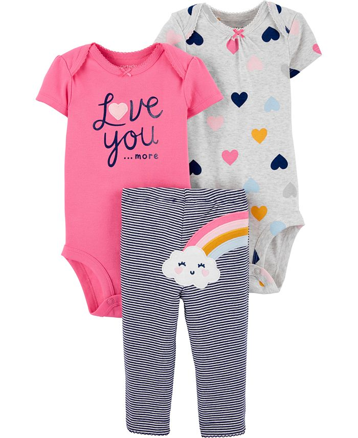 Carter's - Baby Girls 3-Pc. Love You Hearts & Rainbow Cotton Bodysuits & Pants Set