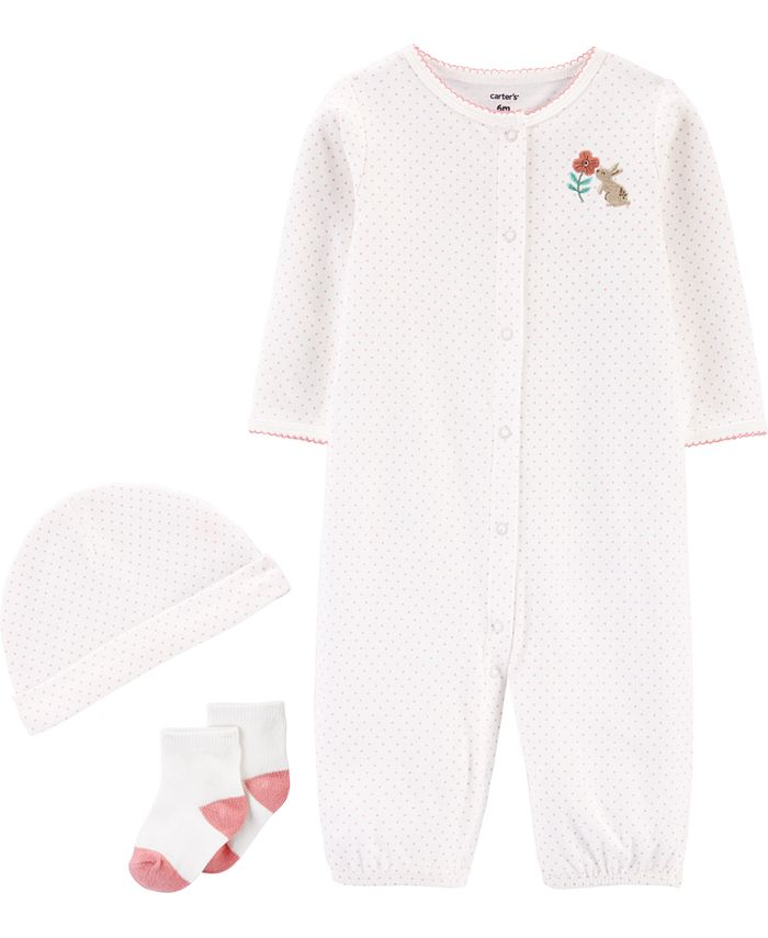 Carter's - Baby Girls 3-Pc. Cotton Coverall, Hat & Socks Set