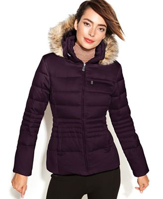 DKNY Hooded Faux-Fur-Trim Quilted Puffer Coat - Coats ...