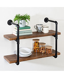Honey Can Do 2-Tier Black Industrial Wall Shelf