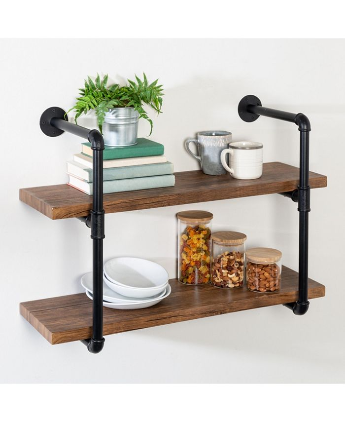 Honey Can Do - 2-Tier Black Industrial Wall Shelf