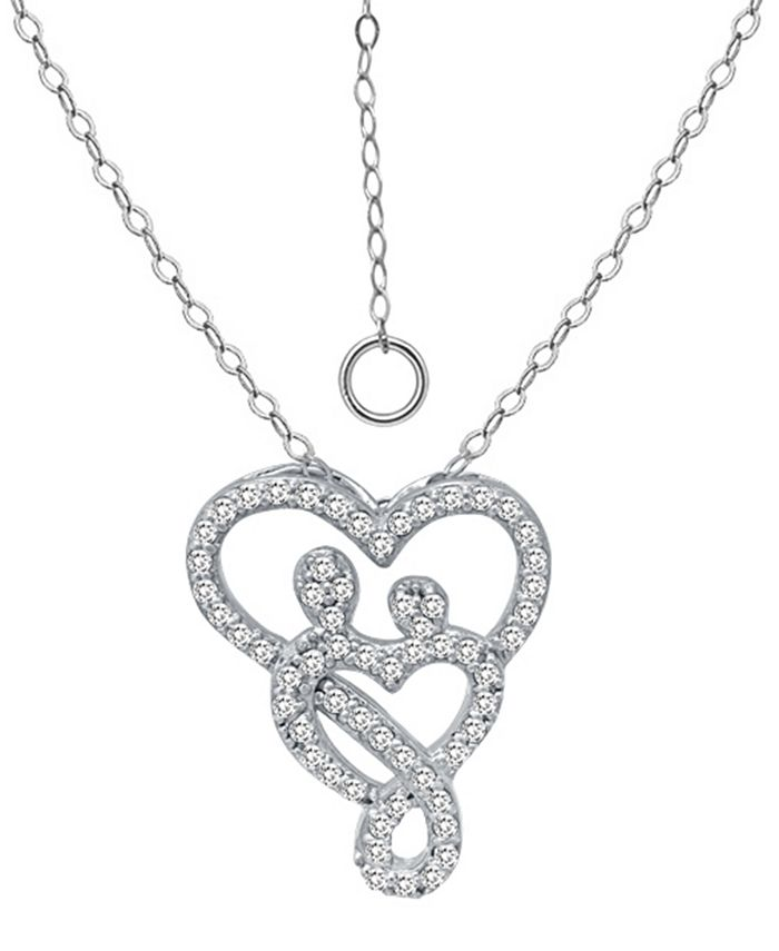 """Giani Bernini - Cubic Zirconia Intertwined Mom & Child Heart Pendant Necklace in Sterling Silver, 16"""" + 2"""" extender"""