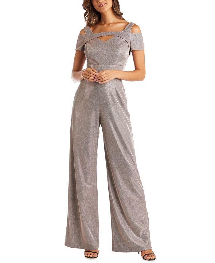 Nightway - Cold-Shoulder Shimmer Jumpsuit