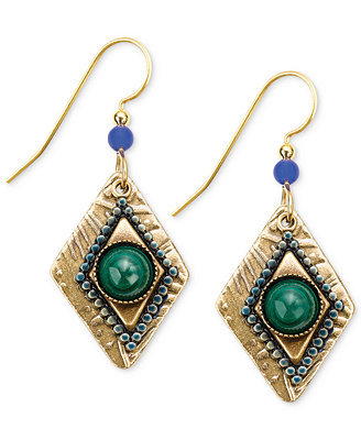 silver forest earrings gold tone malachite bead