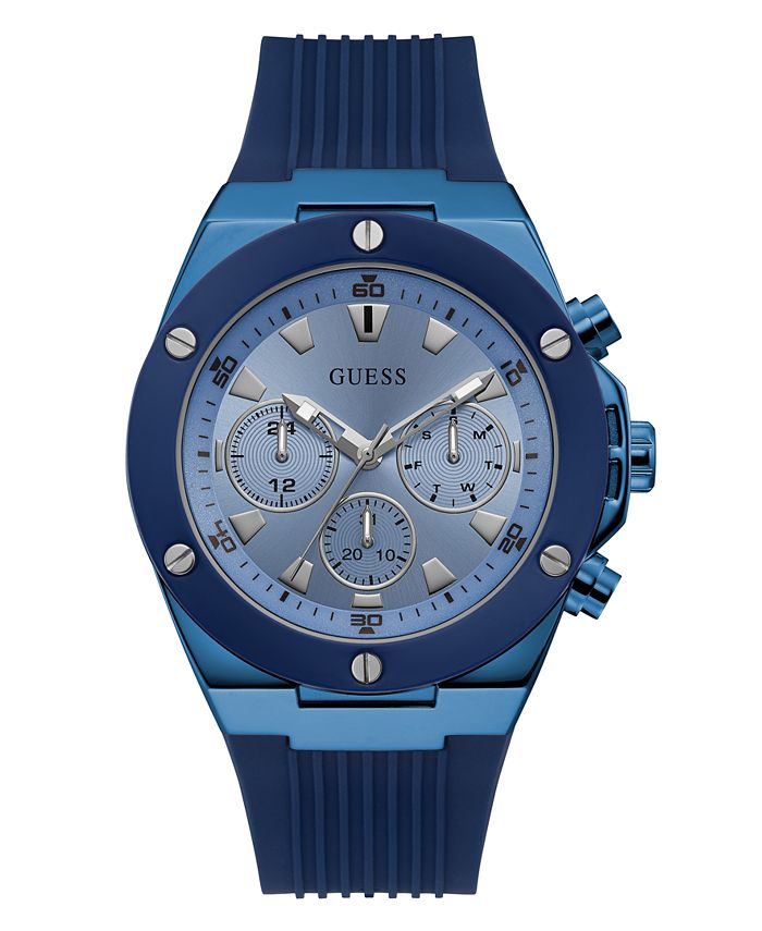GUESS - Guess Men's Blue Silicone Multifunction Watch 46mm