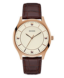 Guess Genuine Diamond Rose Gold-Tone Leather Watch 44mm