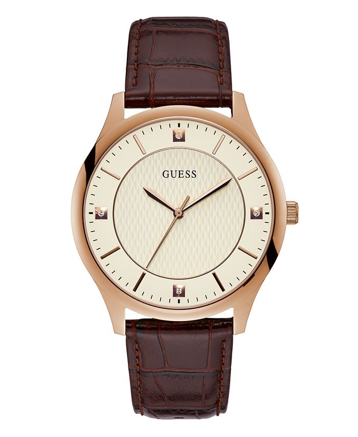 GUESS - Guess Genuine Diamond Rose Gold-Tone Leather Watch 44mm