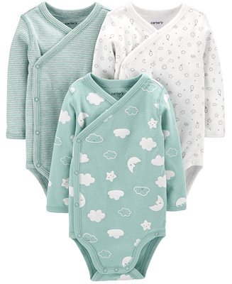 Baby 3-Pk. Printed Side-Snap Cotton Bodysuits