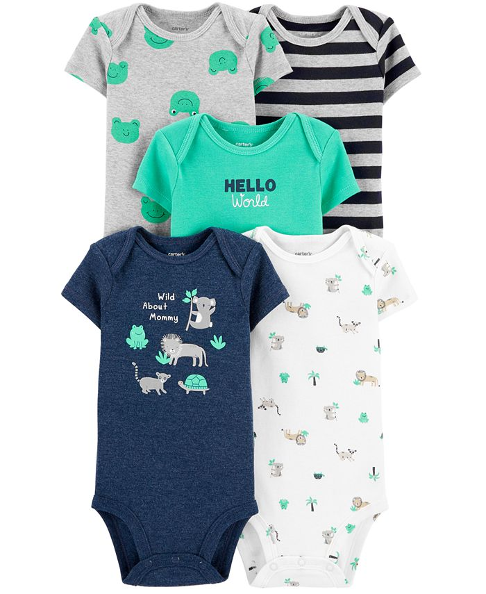 Carter's - Baby Boys 5-Pack Wild Printed Cotton Bodysuits