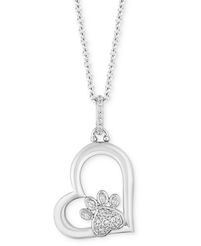 "Hallmark Diamonds - Diamond Paw Heart Pendant Necklace (1/10 ct. t.w.) in Sterling Silver, 16"" + 2"" extender"
