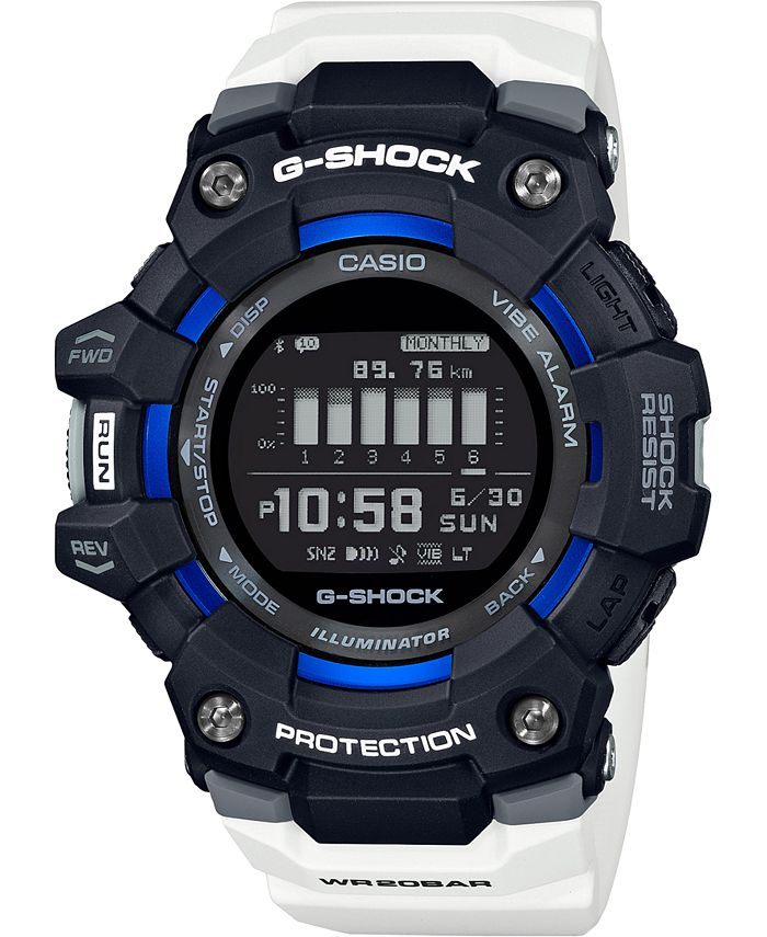 G-Shock - Men's Connected Digital Power Trainer White Resin Strap Watch 49.3mm