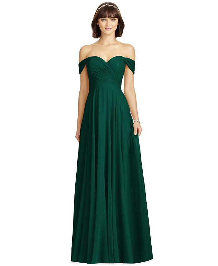 Dessy Collection - Off-The-Shoulder Chiffon Gown