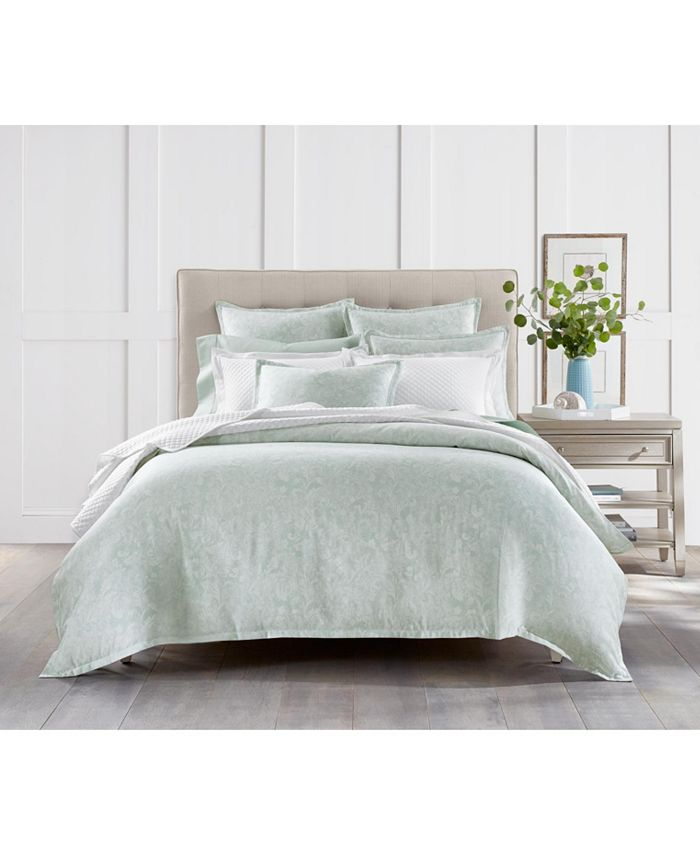 Charter Club - Sleep Luxe Cotton 800-Thread Count 3-Pc. Printed Aloe Scroll Full/Queen Comforter Set, Created For Macy's