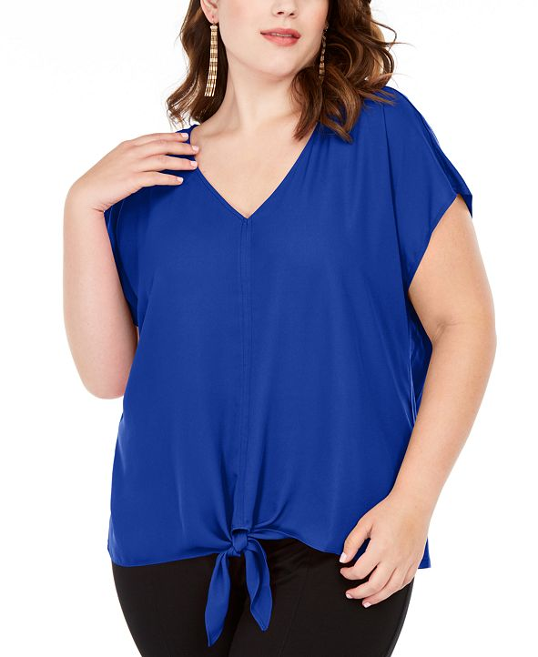 INC International Concepts INC Plus Size Tie-Hem Top, Created for Macy's