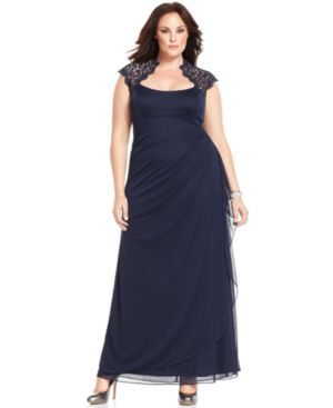 Xscape Plus Size Cap-Sleeve Lace Gown