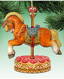 Designocracy Classic Carousel Horse Wooden Christmas Ornament, Set of 2