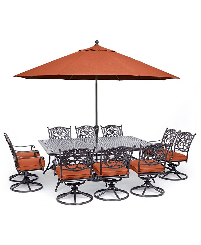 """Furniture - Chateau Outdoor Aluminum 11-Pc. Dining Set (84"""" X 60"""" Dining Table & 10 Swivel Rockers) with Sunbrella® Cushions"""
