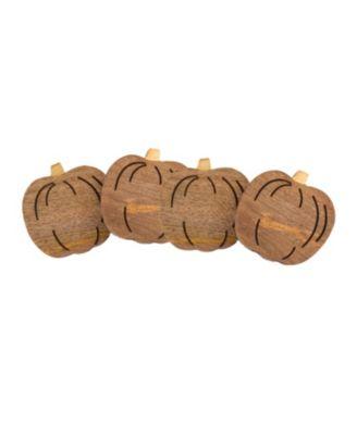 Pumpkin Wood Coasters, Set of 4