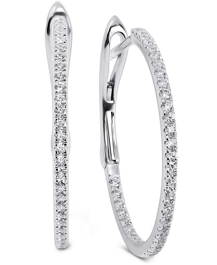 Arabella - Swarovski Zirconia Small Hoop Earrings in 14k White Gold