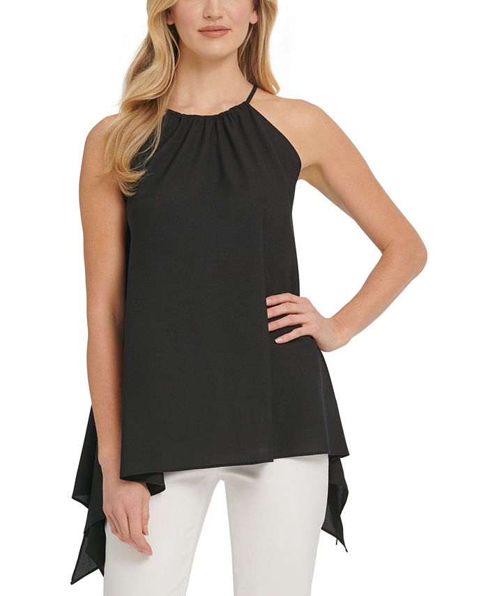 DKNY - Printed Asymmetric Sleeveless Top
