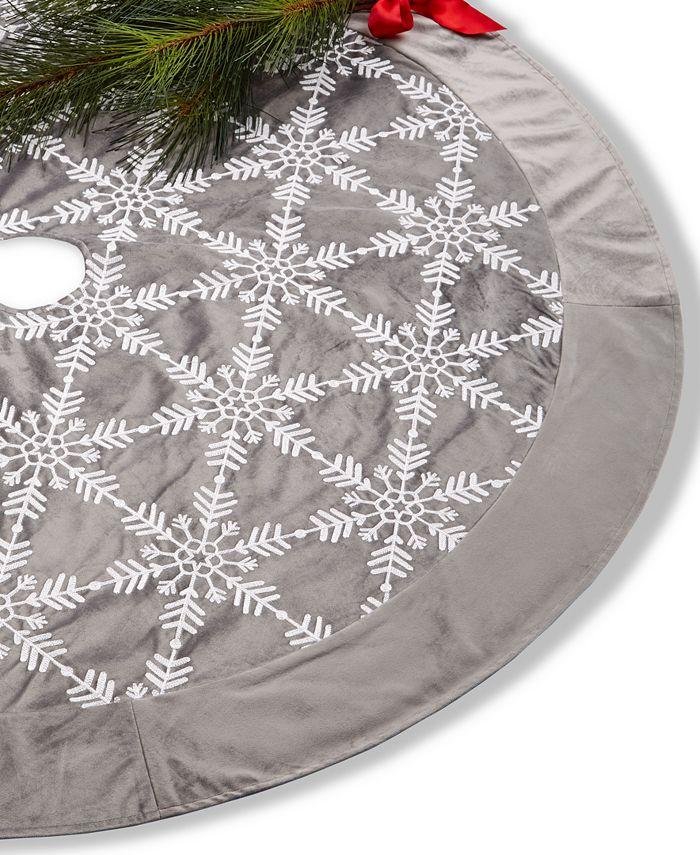 Holiday Lane - Gray White Snowflake Tree Skirt