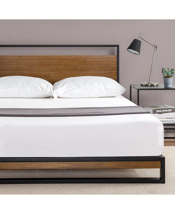 Zinus Suzanne Metal and Wood Platform Bed with Headboard, Queen