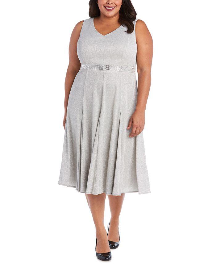 R & M Richards - Plus Size Metallic Fit & Flare Dress