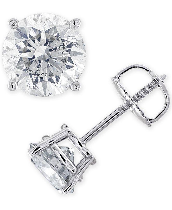 Macy's IGI Certified Diamond (1-3/8 ct. t.w.) Stud Earrings in 14K Gold