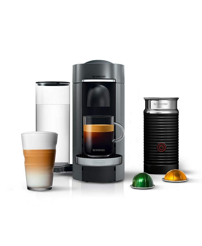 Nespresso - Vertuo Plus Deluxe Coffee & Espresso Maker with Aerocinno Frother, Titanium