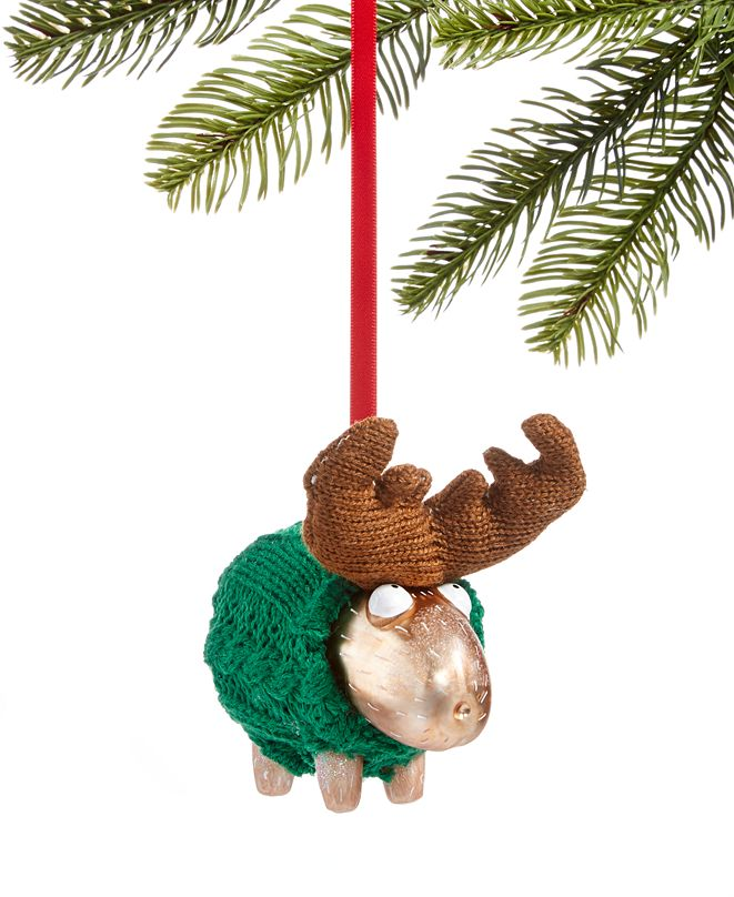 Holiday Lane Christmas Cheer Green Sweater Moose Ornament, Created for Macy's