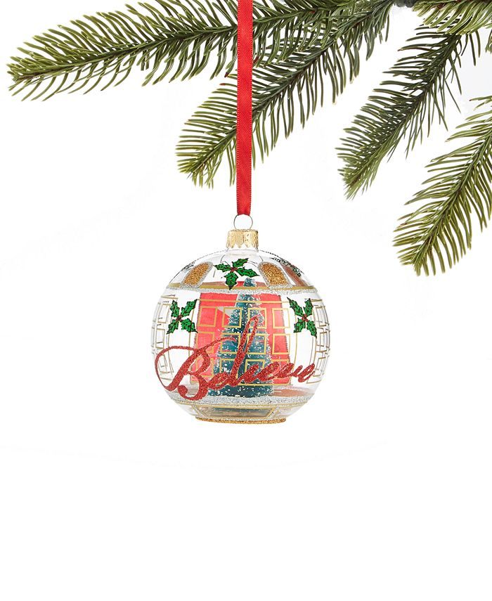 Holiday Lane - Macy's Ball Ornament with Store Window Design and Tree Inside