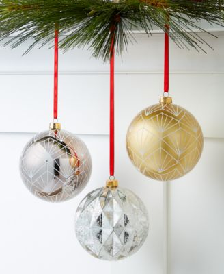 Shine Bright,  Set of 3 Gray, Gold and Silver Shatterproof Ornaments, Created for Macy's