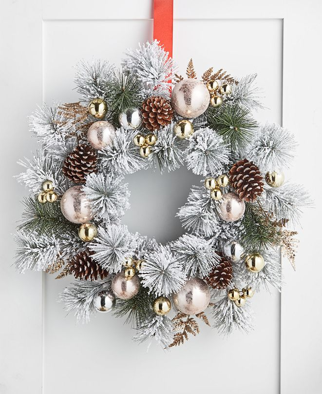 Holiday Lane Shimmer and Light Artificial Pine Needle Wreath, Created for Macy's