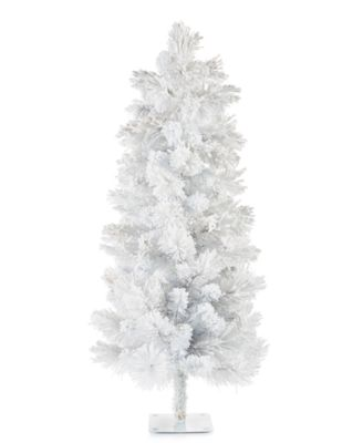 Shine Bright, White & Gold Glitter Flocked Tree, Created for Macy's