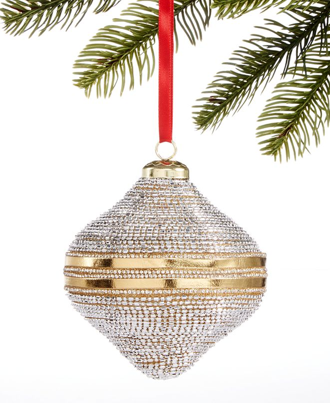 Holiday Lane Shine Bright Plastic Gold Bead Ornament, Created for Macy's