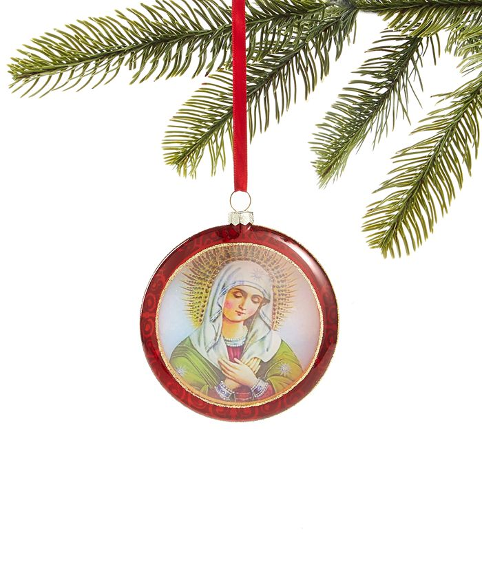 Holiday Lane - Renaissance Round Glass Virgin Mary Ornament