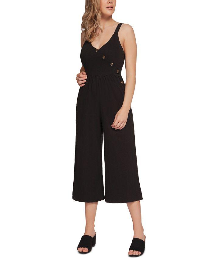 Black Tape - Juniors' Faux-Wrap Culotte Jumpsuit